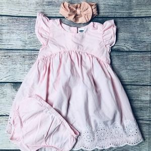 Old Navy 6-12m Baby Dress+Bloomer+Bow
